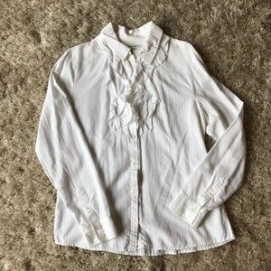 Banana Republic White Ruffle Button Down Shirt
